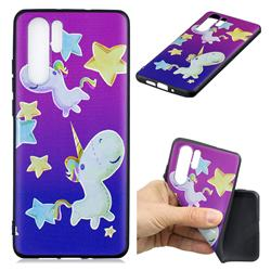 Pony 3D Embossed Relief Black TPU Cell Phone Back Cover for Huawei P30 Pro