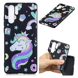 Candy Unicorn 3D Embossed Relief Black TPU Cell Phone Back Cover for Huawei P30 Pro