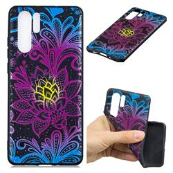 Colorful Lace 3D Embossed Relief Black TPU Cell Phone Back Cover for Huawei P30 Pro