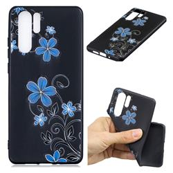 Little Blue Flowers 3D Embossed Relief Black TPU Cell Phone Back Cover for Huawei P30 Pro