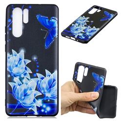 Blue Butterfly 3D Embossed Relief Black TPU Cell Phone Back Cover for Huawei P30 Pro