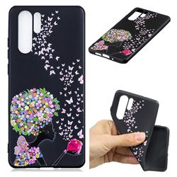 Corolla Girl 3D Embossed Relief Black TPU Cell Phone Back Cover for Huawei P30 Pro