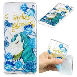 Blue Flower Unicorn Clear Varnish Soft Phone Back Cover for Huawei P30 Pro