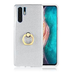 Luxury Soft TPU Glitter Back Ring Cover with 360 Rotate Finger Holder Buckle for Huawei P30 Pro - White