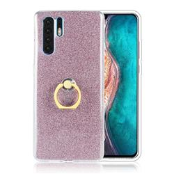 Luxury Soft TPU Glitter Back Ring Cover with 360 Rotate Finger Holder Buckle for Huawei P30 Pro - Pink