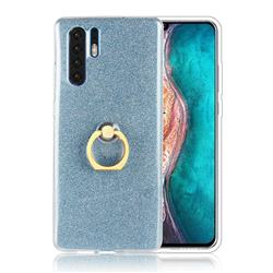 Luxury Soft TPU Glitter Back Ring Cover with 360 Rotate Finger Holder Buckle for Huawei P30 Pro - Blue