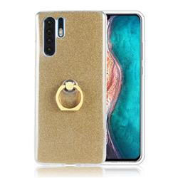 Luxury Soft TPU Glitter Back Ring Cover with 360 Rotate Finger Holder Buckle for Huawei P30 Pro - Golden