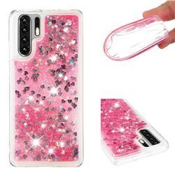 Dynamic Liquid Glitter Quicksand Sequins TPU Phone Case for Huawei P30 Pro - Rose