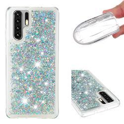 Dynamic Liquid Glitter Quicksand Sequins TPU Phone Case for Huawei P30 Pro - Silver