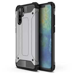 King Kong Armor Premium Shockproof Dual Layer Rugged Hard Cover for Huawei P30 Pro - Silver Grey