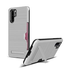Brushed 2 in 1 TPU + PC Stand Card Slot Phone Case Cover for Huawei P30 Pro - Silver