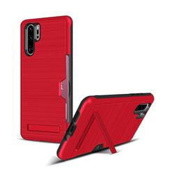 Brushed 2 in 1 TPU + PC Stand Card Slot Phone Case Cover for Huawei P30 Pro - Red