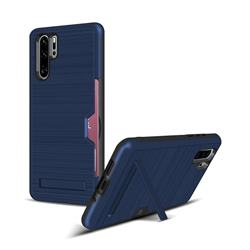 Brushed 2 in 1 TPU + PC Stand Card Slot Phone Case Cover for Huawei P30 Pro - Navy
