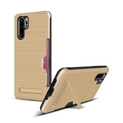 Brushed 2 in 1 TPU + PC Stand Card Slot Phone Case Cover for Huawei P30 Pro - Golden