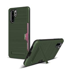 Brushed 2 in 1 TPU + PC Stand Card Slot Phone Case Cover for Huawei P30 Pro - Army Green