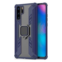 Predator Armor Metal Ring Grip Shockproof Dual Layer Rugged Hard Cover for Huawei P30 Pro - Blue