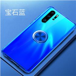 Anti-fall Invisible Press Bounce Ring Holder Phone Cover for Huawei P30 Pro - Sapphire Blue