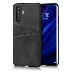 Simple Calf Card Slots Mobile Phone Back Cover for Huawei P30 Pro - Black