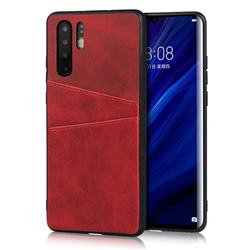 Simple Calf Card Slots Mobile Phone Back Cover for Huawei P30 Pro - Red