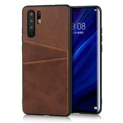 Simple Calf Card Slots Mobile Phone Back Cover for Huawei P30 Pro - Coffee