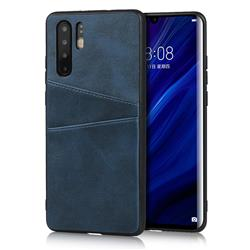 Simple Calf Card Slots Mobile Phone Back Cover for Huawei P30 Pro - Blue