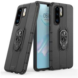 Alita Battle Angel Armor Metal Ring Grip Shockproof Dual Layer Rugged Hard Cover for Huawei P30 Pro - Black