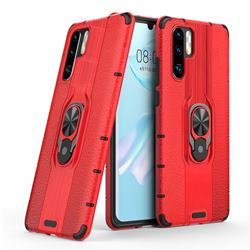 Alita Battle Angel Armor Metal Ring Grip Shockproof Dual Layer Rugged Hard Cover for Huawei P30 Pro - Red