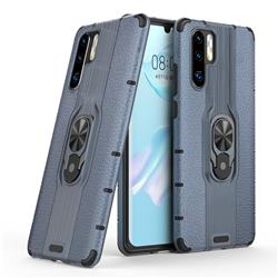 Alita Battle Angel Armor Metal Ring Grip Shockproof Dual Layer Rugged Hard Cover for Huawei P30 Pro - Blue