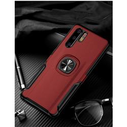 Knight Armor Anti Drop PC + Silicone Invisible Ring Holder Phone Cover for Huawei P30 Pro - Red