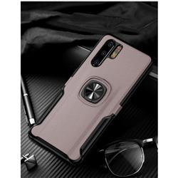 Knight Armor Anti Drop PC + Silicone Invisible Ring Holder Phone Cover for Huawei P30 Pro - Rose Gold