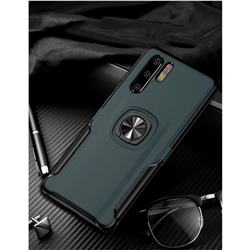 Knight Armor Anti Drop PC + Silicone Invisible Ring Holder Phone Cover for Huawei P30 Pro - Navy