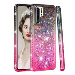 Diamond Frame Liquid Glitter Quicksand Sequins Phone Case for Huawei P30 Pro - Gray Pink
