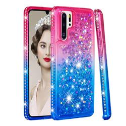 Diamond Frame Liquid Glitter Quicksand Sequins Phone Case for Huawei P30 Pro - Pink Blue