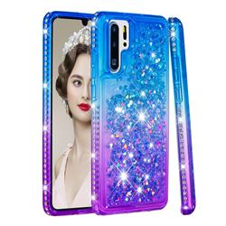 Diamond Frame Liquid Glitter Quicksand Sequins Phone Case for Huawei P30 Pro - Blue Purple