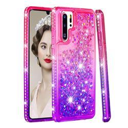 Diamond Frame Liquid Glitter Quicksand Sequins Phone Case for Huawei P30 Pro - Pink Purple