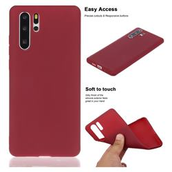 Soft Matte Silicone Phone Cover for Huawei P30 Pro - Wine Red