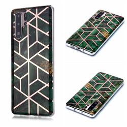 Green Rhombus Galvanized Rose Gold Marble Phone Back Cover for Huawei P30 Pro