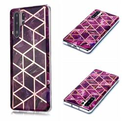 Purple Rhombus Galvanized Rose Gold Marble Phone Back Cover for Huawei P30 Pro