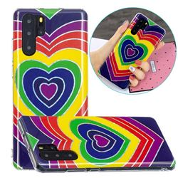 Rainbow Heart Painted Galvanized Electroplating Soft Phone Case Cover for Huawei P30 Pro