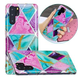 Triangular Marble Painted Galvanized Electroplating Soft Phone Case Cover for Huawei P30 Pro