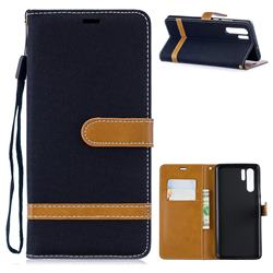 Jeans Cowboy Denim Leather Wallet Case for Huawei P30 Pro - Black