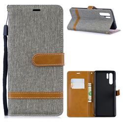 Jeans Cowboy Denim Leather Wallet Case for Huawei P30 Pro - Gray