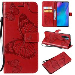 Embossing 3D Butterfly Leather Wallet Case for Huawei P30 Pro - Red