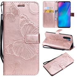 Embossing 3D Butterfly Leather Wallet Case for Huawei P30 Pro - Rose Gold
