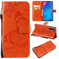 Embossing 3D Butterfly Leather Wallet Case for Huawei P30 Pro - Orange