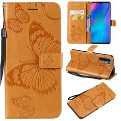 Embossing 3D Butterfly Leather Wallet Case for Huawei P30 Pro - Yellow