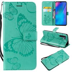 Embossing 3D Butterfly Leather Wallet Case for Huawei P30 Pro - Green