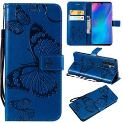 Embossing 3D Butterfly Leather Wallet Case for Huawei P30 Pro - Blue