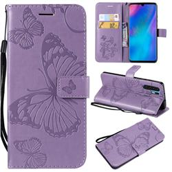 Embossing 3D Butterfly Leather Wallet Case for Huawei P30 Pro - Purple