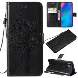 Embossing Butterfly Tree Leather Wallet Case for Huawei P30 Pro - Black